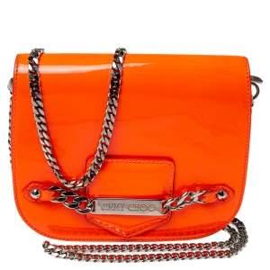 Jimmy Choo Neon Orange Patent Leather Chain-Link Crossbody Bag