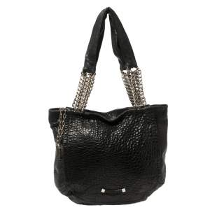 Jimmy Choo Black Pebbled Leather Large Nica Tote