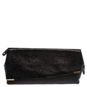 Jimmy Choo Black Glossy Pebbled Leather Allison Clutch
