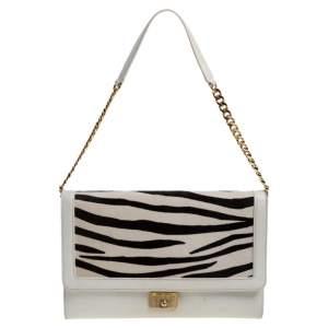 Jimmy Choo White Zebra Print Calfhair and Leather Flap Chain Shoulder Bag