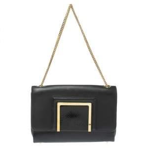 Jimmy Choo Black Leather and Snakeskin Trim Alba Shoulder Bag