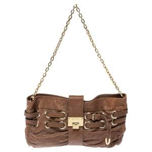 Jimmy Choo Brown Leather Riki Chain Shoulder Bag