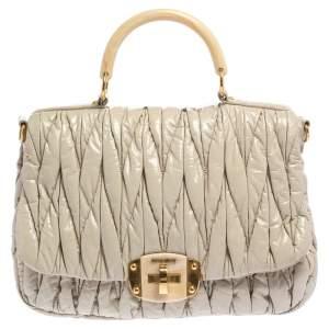 Miu Miu Ivory Matelasse Patent Leather Turnlock Flap Top Handle Bag