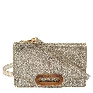 Jimmy Choo Metallic Silver Glittered Fabric Tilsa Strap Wallet