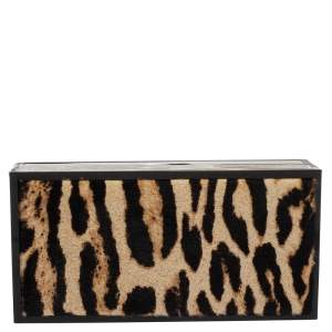 Jimmy Choo Beige/Black Leopard Prin Pony Hair Box Clutch