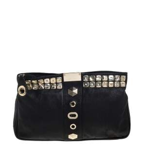 Jimmy Choo Black Perforated Leather Studded Zulu Clutch