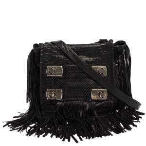 Jimmy Choo Black Grain Leather and Snake Adele Fringe Crossbody Bag