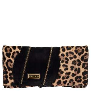 Jimmy Choo Black/Brown Suede and Calf Hair Martha Clutch