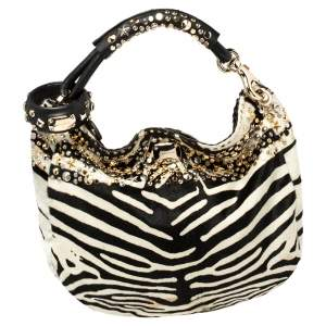 Jimmy Choo Black/White Zebra Print Calf Hair and Leather Studded Sky Hobo