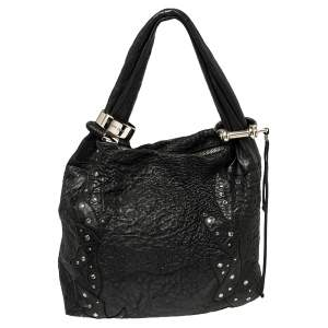Jimmy Choo Black Textured Leather Medium Saba Embellished Hobo