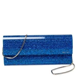 Jimmy Choo Blue Glitter Acrylic Sweetie Chain Clutch