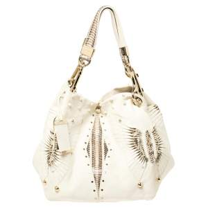 Jimmy Choo White Leather and Snakeskin Trim Lohla Jane Tote