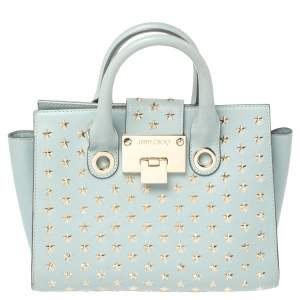 Jimmy Choo Powder Blue Star Studded Leather Riley Tote