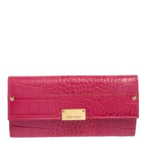 Jimmy Choo Fuchsia Croc Embossed Leather Reese Clutch
