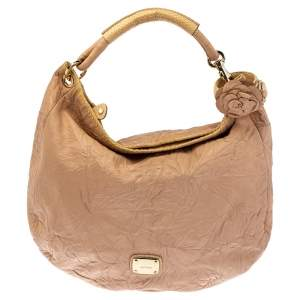 Jimmy Choo Dusty Pink Crinkled Leather and Snakeskin Solar Hobo