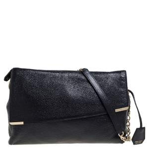 Jimmy Choo Black Shimmering Leather Ally Handcuff Shoulder Bag