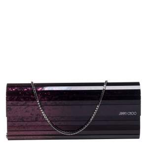 Jimmy Choo Purple Ombre Glitter Acrylic Sweetie Chain Clutch