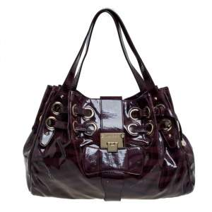 Jimmy Choo Burgundy Zebra Print Patent Leather Ramona Shoulder Bag