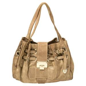 Jimmy Choo Gold Shimmer Suede Ramona Shoulder Bag