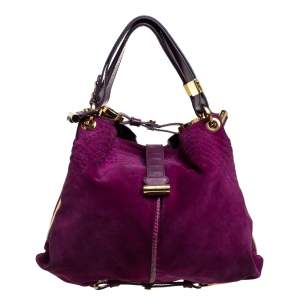 Jimmy Choo Purple Suede, Leather and Snakeskin Alex Hobo