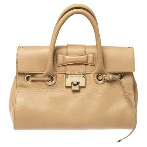 Jimmy Choo Beige Leather Rosalie Satchel