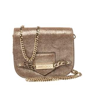 Jimmy Choo Metallic Gold Shimmer Leather Shadow Chain Bag