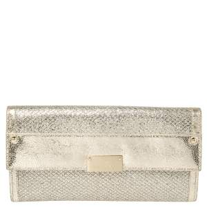 Jimmy Choo Metallic Gold Leather and Glitter Reese Clutch