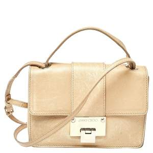 Jimmy Choo Beige Leather Rebel Top Handle Bag