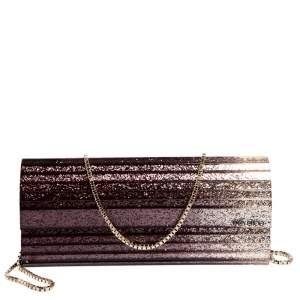 Jimmy Choo Ombre Purple Glitter Acrylic Sweetie Chain Clutch