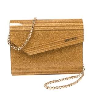 Jimmy Choo Gold Shimmer Acrylic Candy Chain Clutch