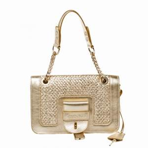 Jimmy Choo Gold Woven Leather Padlock Flap Shoulder Bag