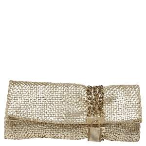 Jimmy Choo Gold Woven Leather Chandra Clutch