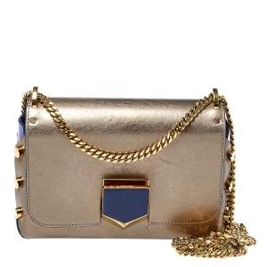 Jimmy Choo Metallic Grey/Blue Leather Lockett Shoulder Bag