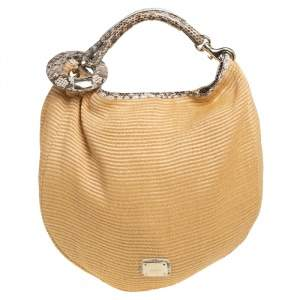 Jimmy Choo Tan Raffia and Snakeskin Trim Sky Hobo