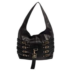 Jimmy Choo Black Textured Leather Bardia Buckle Hobo