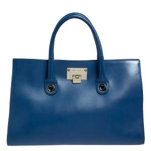 Jimmy Choo Blue Leather Riley Tote