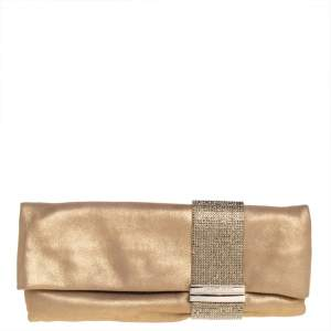 Jimmy Choo Gold Shimmer Suede Chandra Clutch