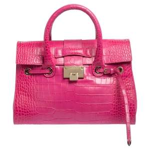 Jimmy Choo Pink Croc Embossed Leather Medium Rosalie Satchel