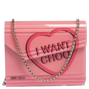 Jimmy Choo Pink Acrylic I Want Choo Candy Clutch Bag
