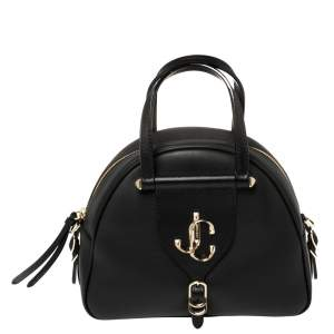 Jimmy Choo Black Leather Small Varenne Bowler Bag