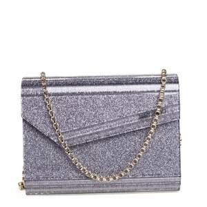 Jimmy Choo Purple Glitter Acrylic Candy Chain Clutch