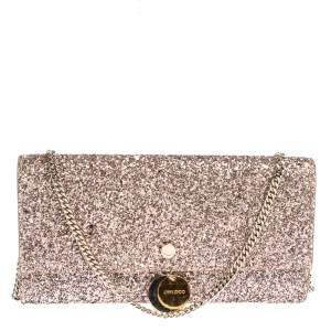 Jimmy Choo Light Pink Coarse Glitter Fie Chain Clutch