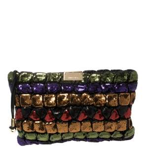 Jimmy Choo Multicolor Sequins and Leather Colorblock Wristlet Clutch