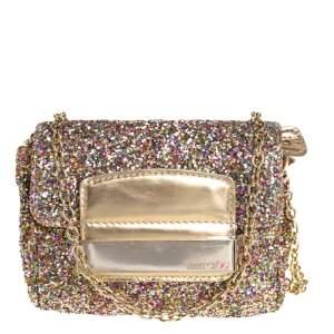 JImmy Choo Multicolor Glitter Mini Carolina Flap Chain Bag
