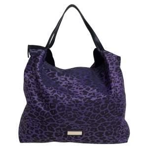 Jimmy Choo Purple/Black Leopard Print Fabric Tote