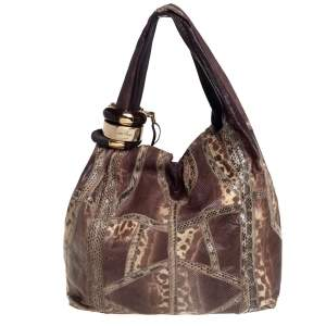 Jimmy Choo Brown Snakeskin Saba Hobo