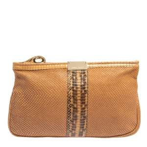 Jimmy Choo Brown Leather and Python Trim Zulu Clutch