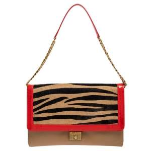 Jimmy Choo Zebra Print Calfhair, Patent and Leather Flap Chain Shoulder Bag