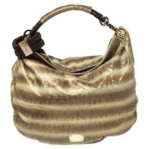 حقيبة هوبو جيمي تشو سكاي بانغل كبيرة جلد ثعبان أخضر/ بني ميتالك