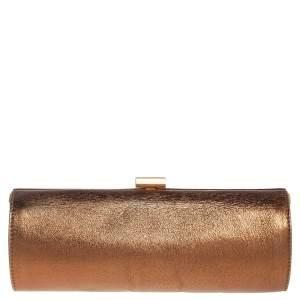 Jimmy Choo Metallic Bronze Leather Twill Tube Clutch